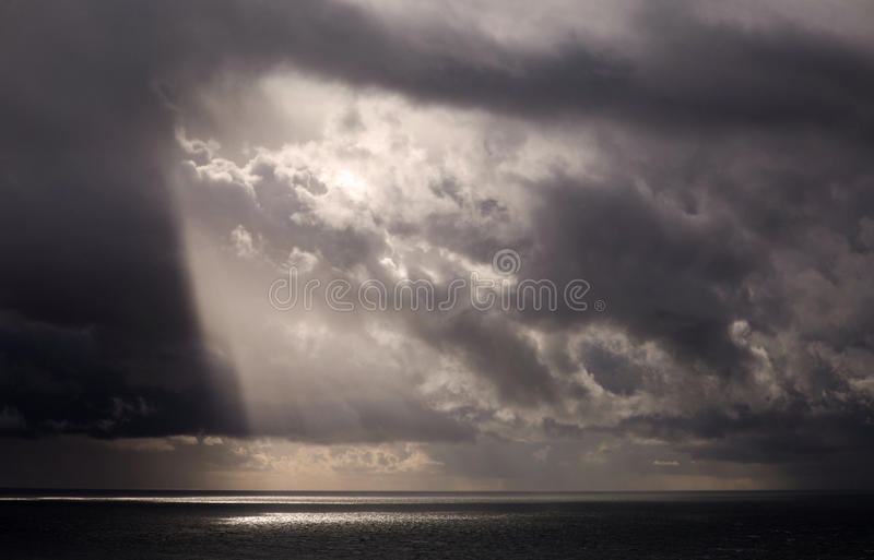 Light Beams Over The Sea Royalty Free Stock Image
