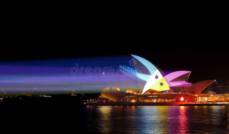 Light Beams and Sydney Opera House Vivid Sydney stock photography