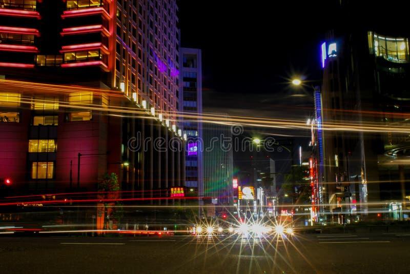 Light beams tokyo stock photo