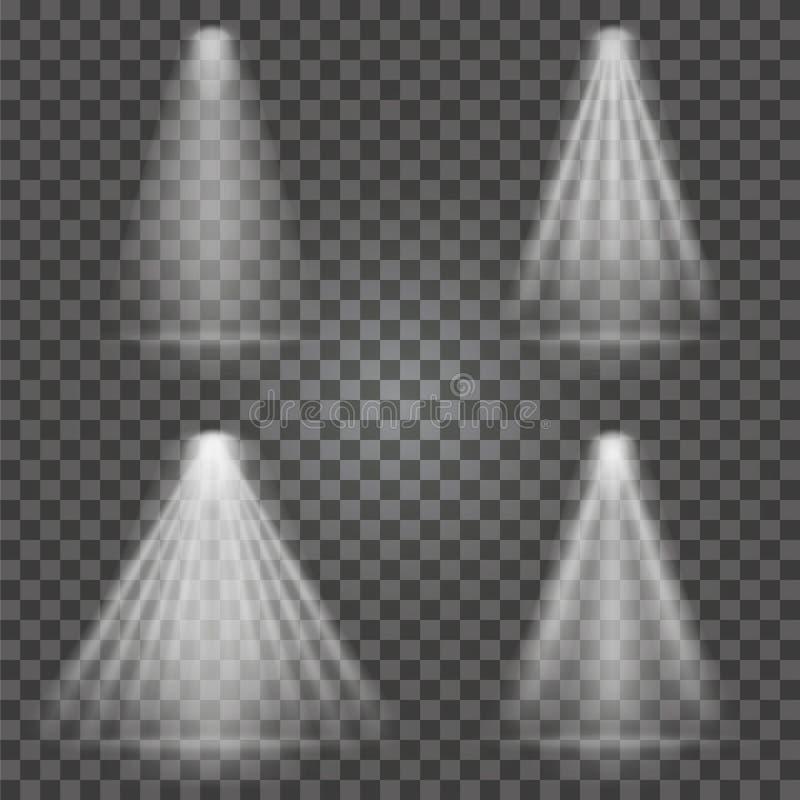 Light beams on transparent background. Bright spotlight light beams. Set for searchlight, scene illumination. Vector stock illustration
