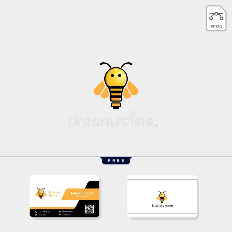 light, bee, flying bee logo template vector illustration, free business card design royalty free illustration