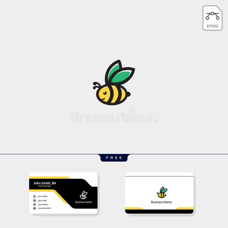 light, bee, flying bee logo template vector illustration, free business card design stock illustration
