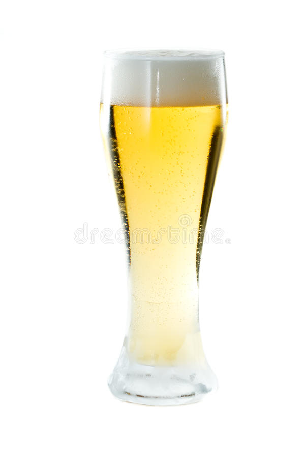Light beer. Closeup of a light beer isolated on a white background stock photo