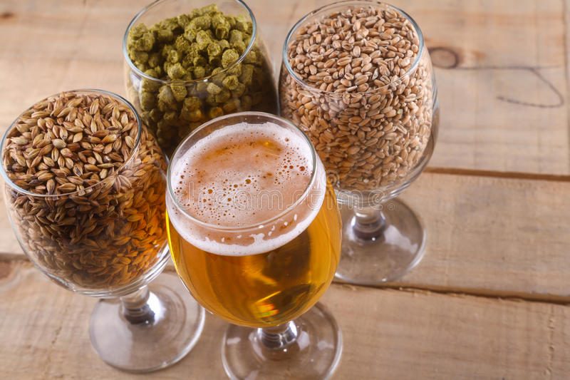 Light beer and ingredients. Glasses full of light beer, different types of malt and hops over a wooden background royalty free stock photos