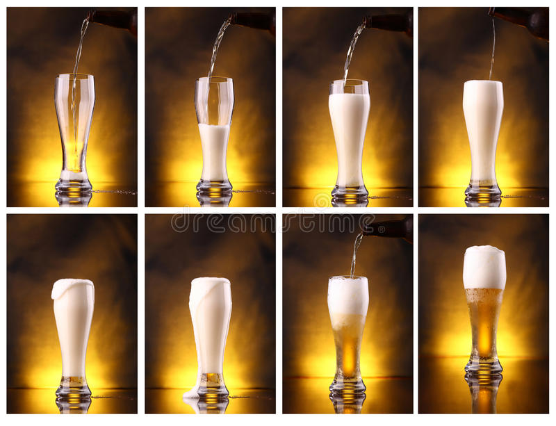 Light beer pouring. Shot series mosaic of light beer pouring into a tall glass royalty free stock photo