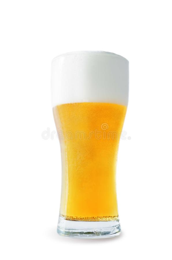 Light beer isolated. Light beer on a white background. toning. selective focus stock image