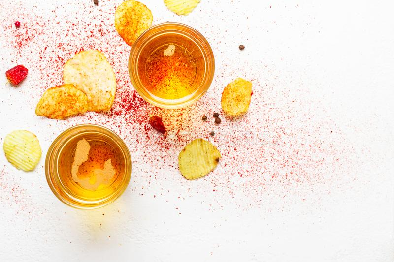 Light Beers and chips. Food abstract background.  royalty free stock photos