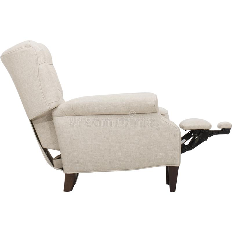 Light Beige Fabric Recliner Club Chair. With white background stock photography