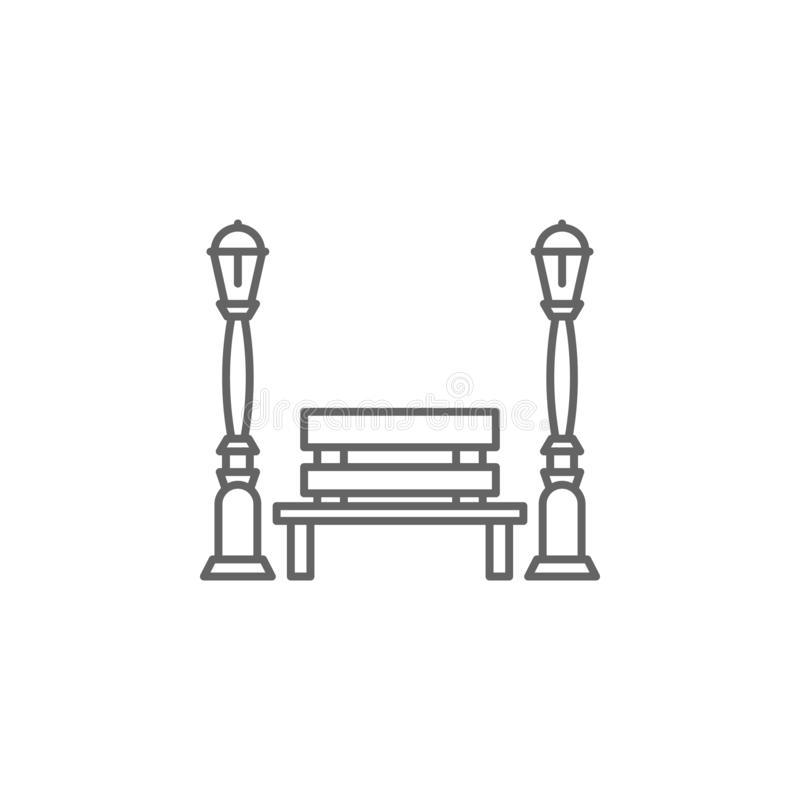 Light, bench, street icon. Element of Paris icon. Thin line icon for website design and development, app development stock illustration