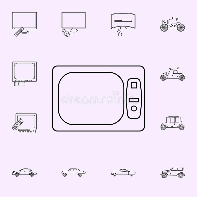 Light black and white TV icon. Generation icons universal set for web and mobile. On color background vector illustration