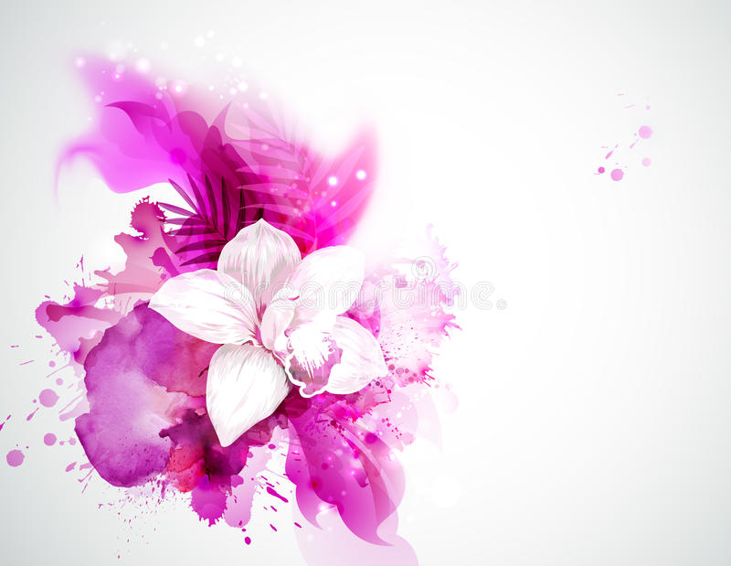 Light blooming orchid and palm leaves on the abstract background royalty free illustration