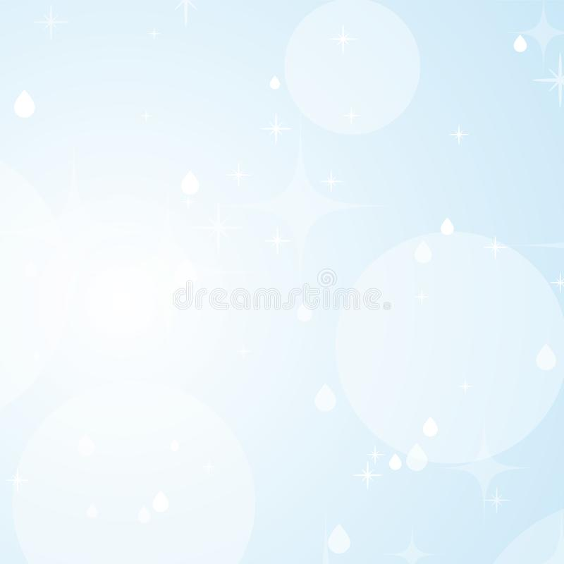 Light blue abstract background with stars and bokeh. Beautiful sky. Simple flat vector illustration.  stock illustration