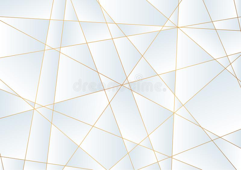 Light blue abstract polygonal background with golden lines vector illustration
