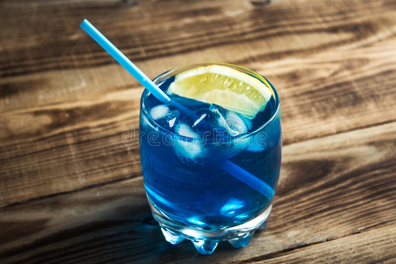 Light blue alcoholic drink curacao liqueur royalty free stock image