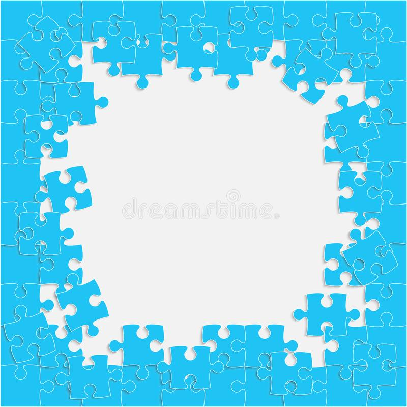 The Light Blue Background Puzzle. Frame. Jigsaw. royalty free illustration