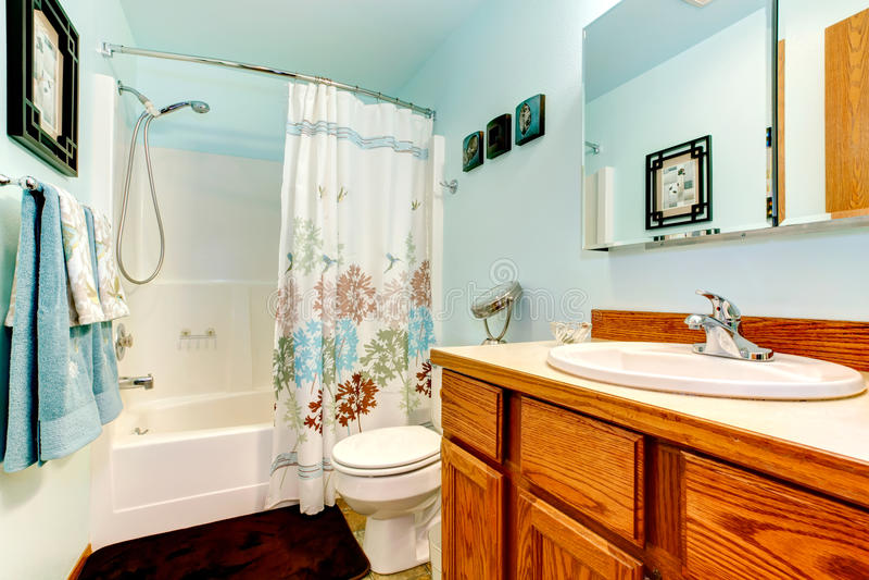 Light blue bathroom royalty free stock image