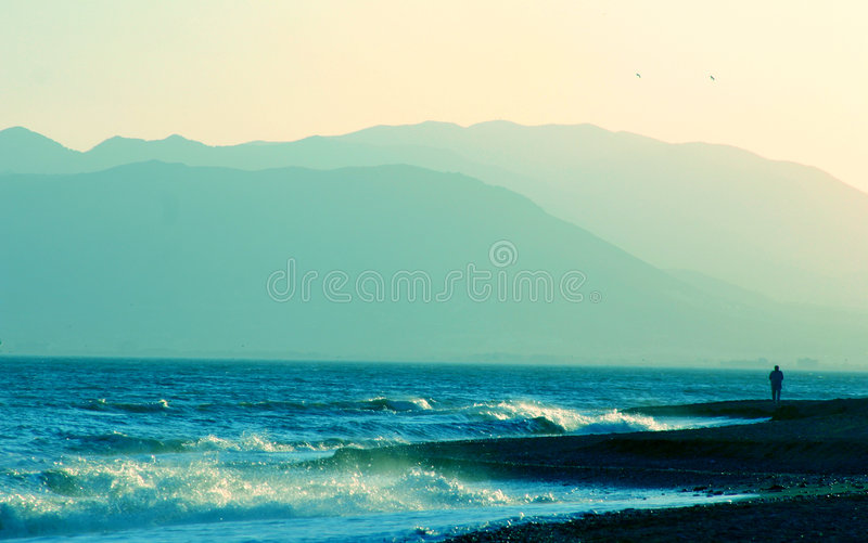 Light blue beach scene, Andalusian Coast royalty free stock images