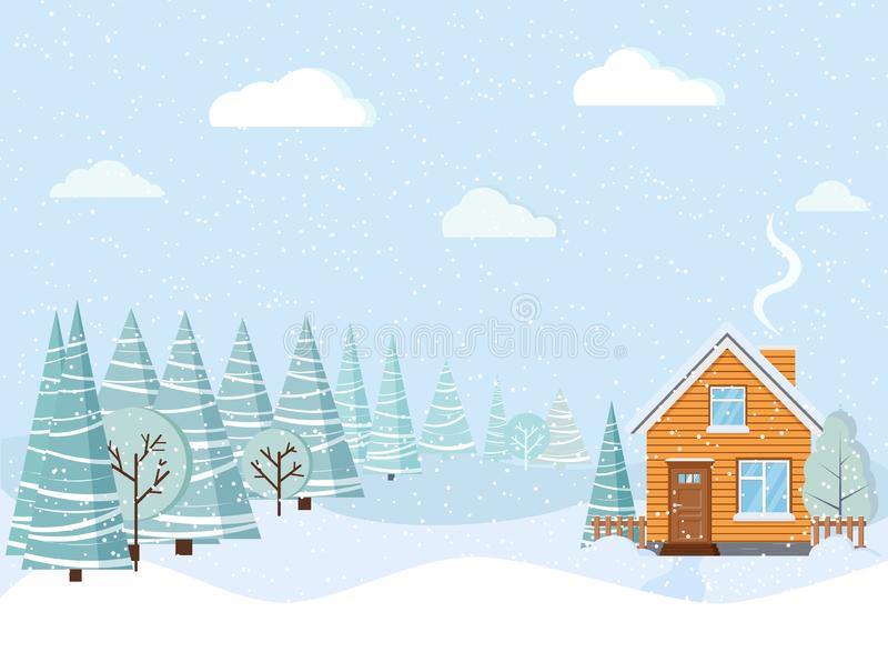 Light blue beautiful winter landscape with country house with chimney, snowy fields, winter trees, spruces, clouds, snow stock illustration