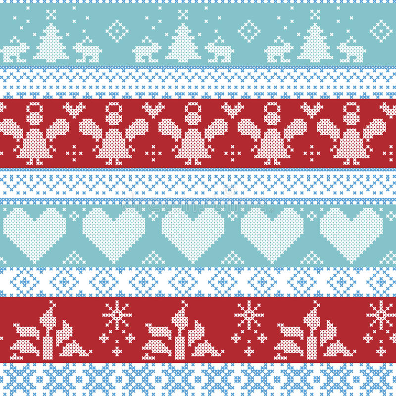 Light blue, blue, white and red Scandinavian Nordic Christmas seamless cross stitch pattern with angels, Xmas trees, rabbits, snow stock illustration