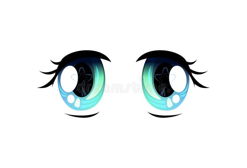 Light Blue Bright Eyes, Beautiful Eyes with Light Reflections Manga Japanese Style Vector Illustration. On White Background royalty free illustration