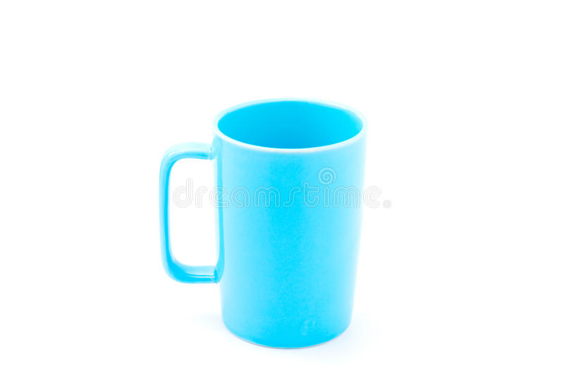 Light blue coffee cup. Isolated with white background stock image