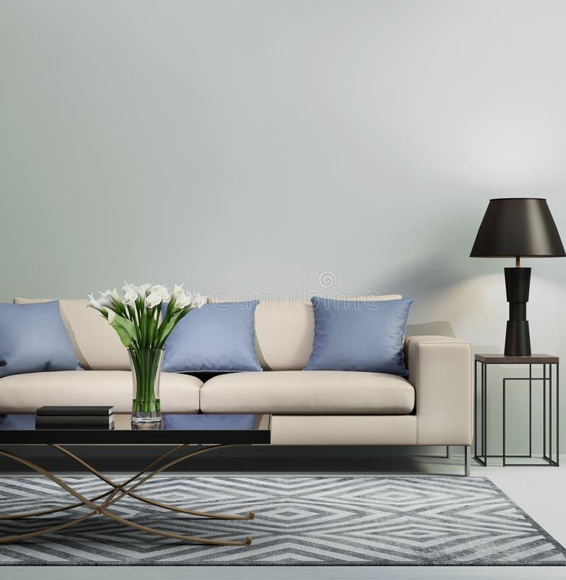 Light blue contemporary modern sofa stock illustration