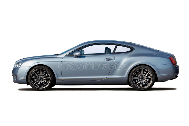 Light blue coupe. Light blue extreme fast coupe isolated on white royalty free stock images
