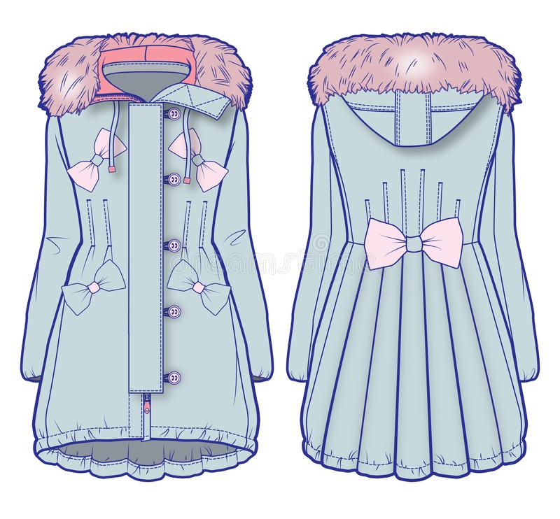Light blue denim coat with pink fur and cute embellishment. Front and back view of a light blue denim coat with pink fur and cute embellishment stock illustration