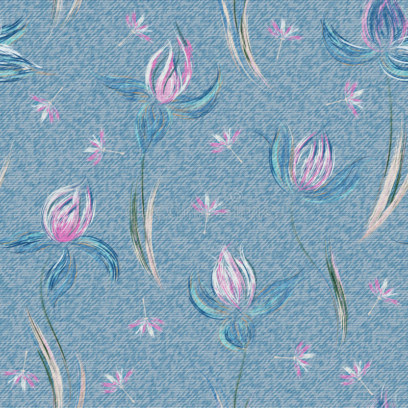 Light blue denim with colorful floral pattern. Beautiful floral seamless background. Hand draw crocus ornament. Vector royalty free illustration