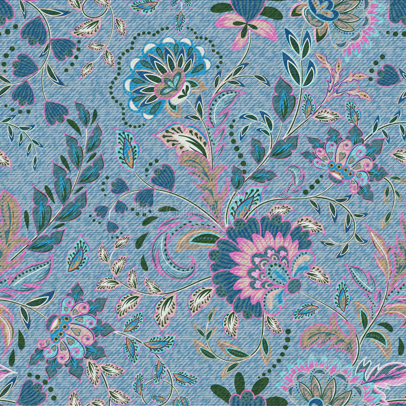 Light blue denim with colorful floral pattern. Beautiful ornamental floral seamless background. Hand draw eastern royalty free illustration