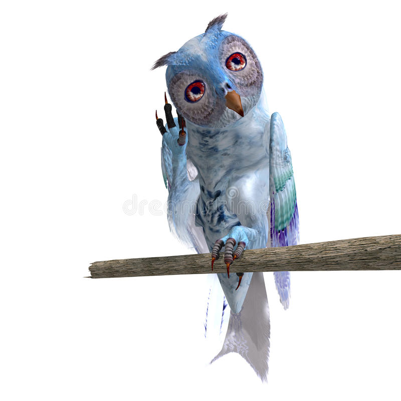 Light blue fantasy owl vector illustration