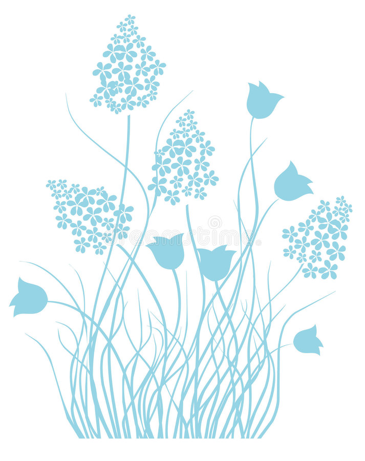 Light blue floral ornament stock images