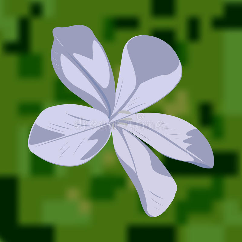 Light blue flower. Soft light blue flower with green unfocused landscape background royalty free illustration
