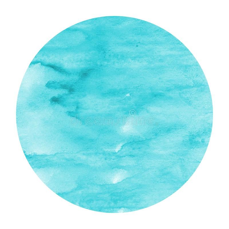 Light blue hand drawn watercolor circular frame background texture with stains. Modern design element stock image