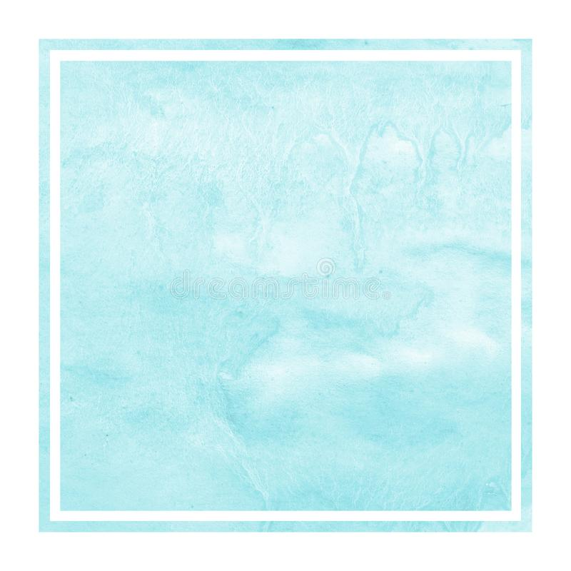 Light blue hand drawn watercolor rectangular frame background texture with stains. Modern design element royalty free stock image