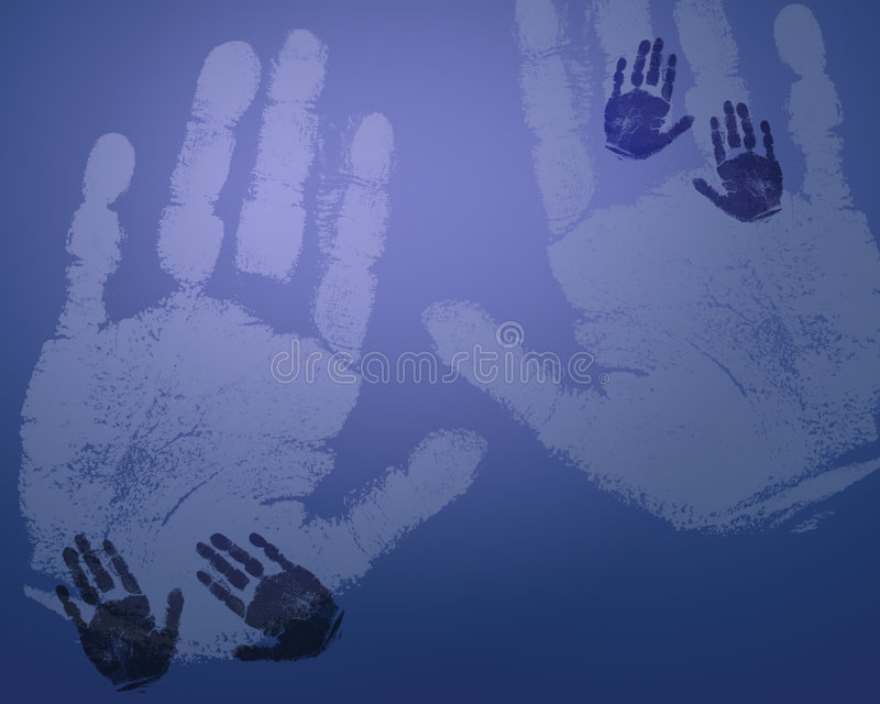 Light blue hand prints vector illustration