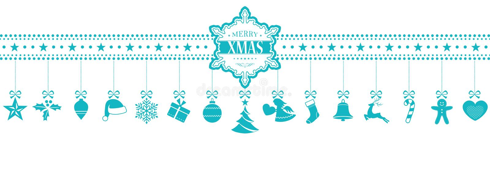 Light blue hanging Christmas ornaments banner with snowflake. Set of 15 Christmas icons, symbols hanging from a horizontal border with a snowflake containing the royalty free illustration