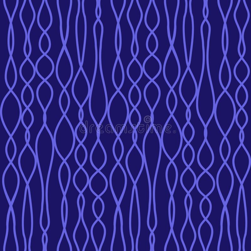 Seamless vector knitted fabric texture with blue lines. Light blue lines on dark blue background. Seamless vector pattern. Knitted fabric texture. For textile stock illustration