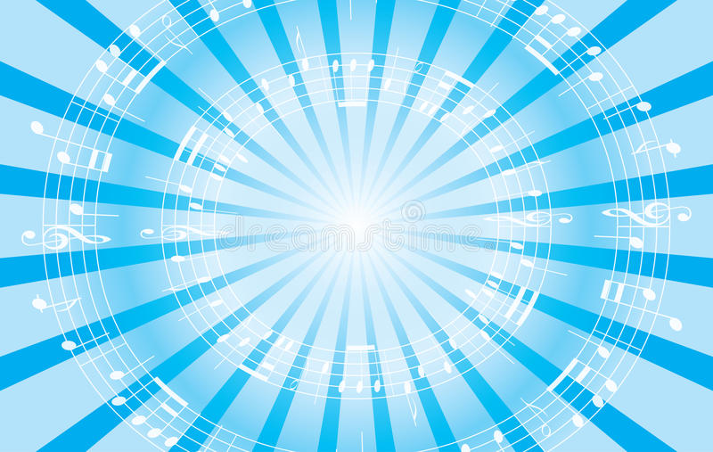 Light blue music background with radial rays - EPS vector illustration