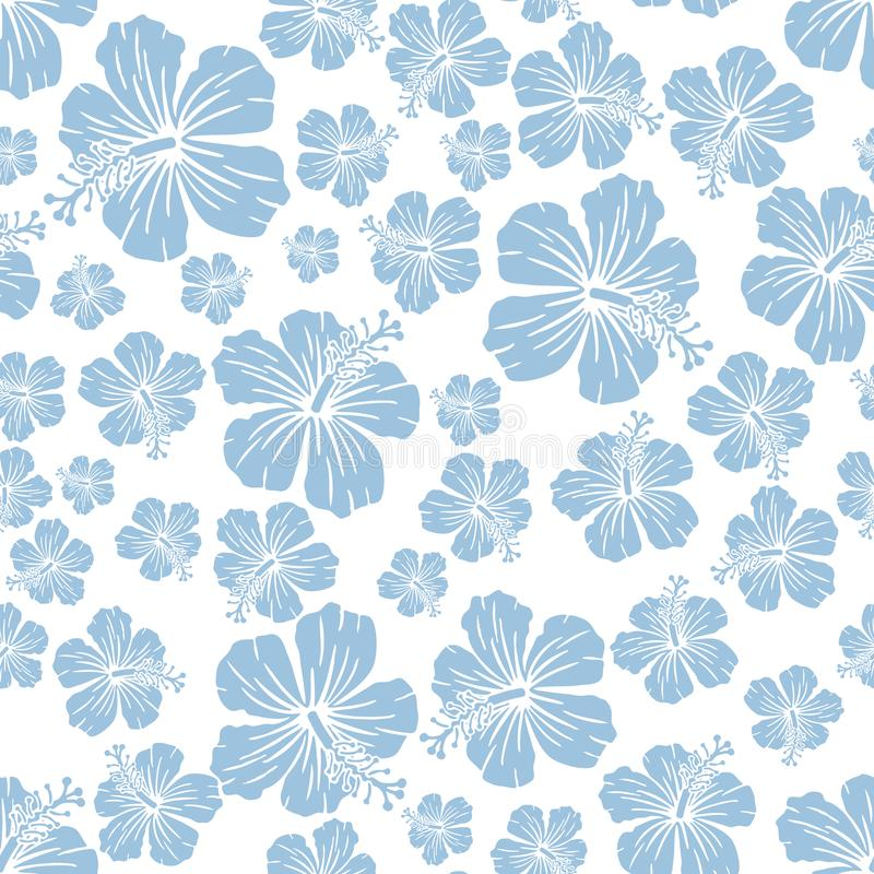 Free Light Blue On White Random Hibiscus Flower Pattern Seamless Repeat Background Royalty Free Stock Photography - 114667147