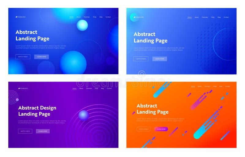Light Blue Purple Orange Abstract Geometric Line Shape Landing Page Background Set. Digital Motion Gradient Pattern stock illustration
