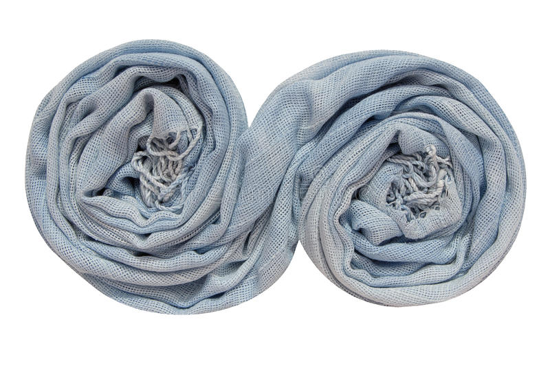 Light blue scarf is in spiral shape stock photo