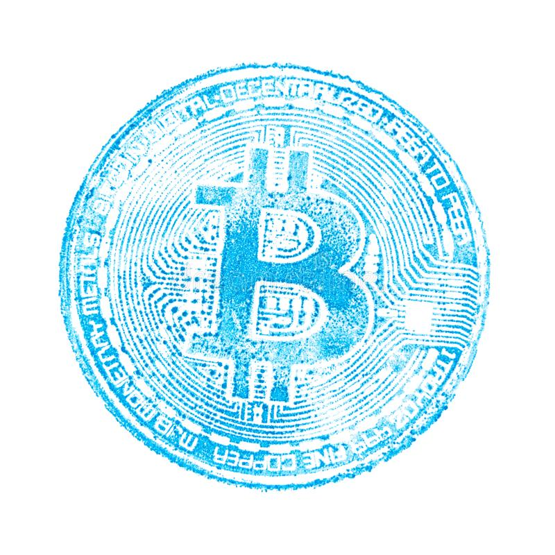 Macro. Light blue seal of bitcoin on white isolated background. Print on papers cryptocurrency for designers. Square frame. royalty free stock images