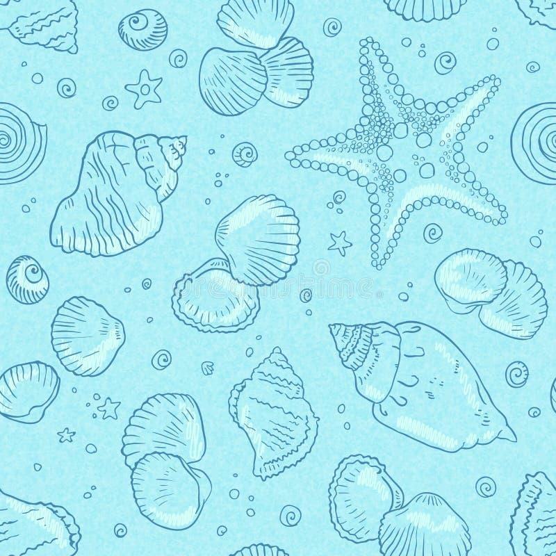 Light blue seamless seashells pattern