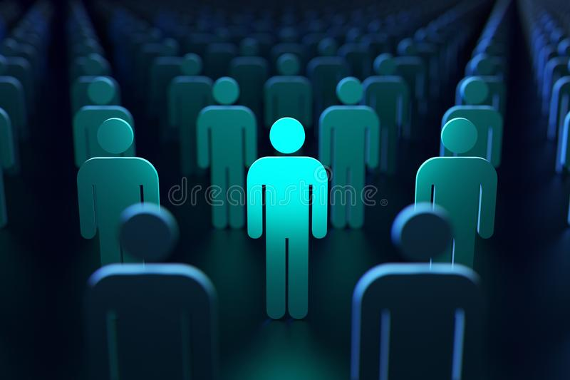 Light blue silhouette of a person. Concept of protection and security. 3D rendering stock illustration