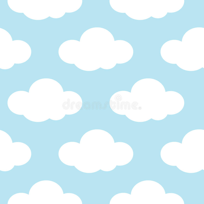 Light blue sky with white clouds seamless background stock illustration