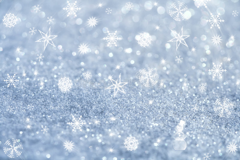 Light blue snowflakes and glitter sparkles. Background , super macro shot, shallow DOF