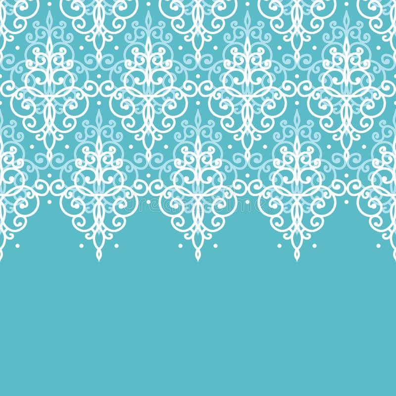 Light Blue Swirls Damask Horizontal Seamless Pattern