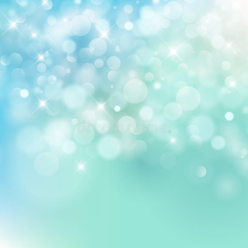 Light blue Vector bokeh background made from white lights. With sparkling glitter vector illustration