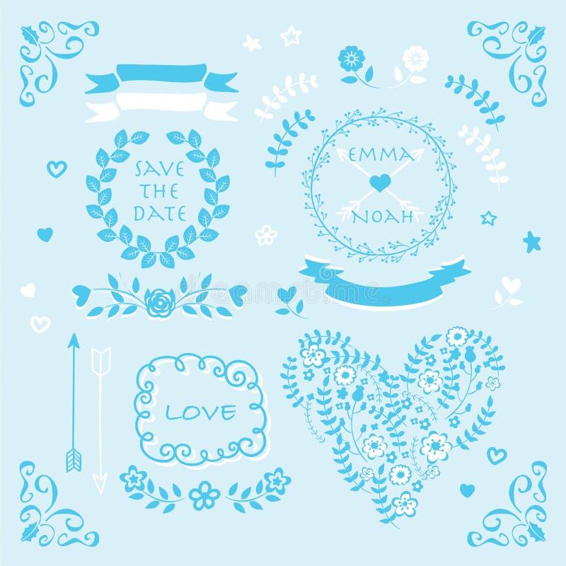 Light blue vector wedding invitation design element set stock download light blue vector wedding invitation design element set stock illustration illustration of love stopboris Images